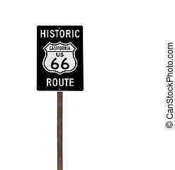 Tall Isolated Historic Route 66 Sign on Wood Post - Tall...