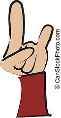 Rock And Roll - simple drawing of a cartoon hand making a...
