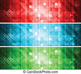 Technical banners collection - Set of colorful hi-tech...