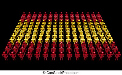 people in colours of Spanish flag illustration