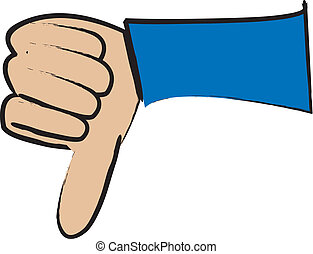 One Thumbs Down - simple drawing of a cartoon hand giving a...