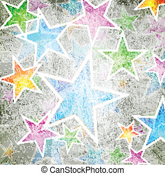 Abstract stars background - Colourful grunge design with...