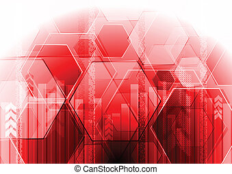 Red hi-tech design - Vector technology background. Eps 10
