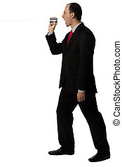 Businessman yelling through an oldschool can phone, vertical...