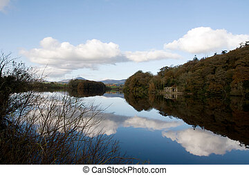 boat house beside the river blackwater reflections - boat...