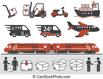 Mail delivery, transportation symbols, boxes