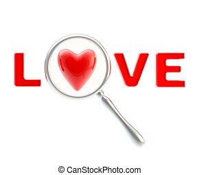 Word love under the magnifier isolated