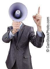 homem, shouting, gritando, alto-falante