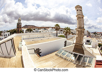 Teguise, Lanzarote, Canary Island, view over historic village to Church Iglesia de Nuestra Senora de Guadalupe