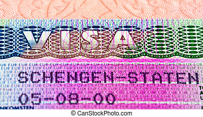 Schengen visa in passport Fragment
