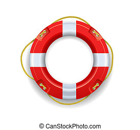 Ship lifebuoy is on a white background. - Red lifebuoy is on...