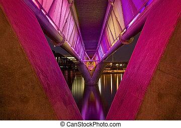 Colorful Bridge in Tempe Arizona - Colorful light rail...