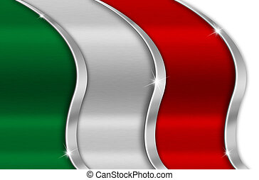 Italy Metal Flag - Green white and red background national...