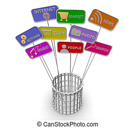 3D Social Media plate in a metal basket on a white...