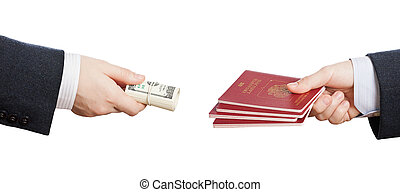 Buying fake or forged passport document - Business man hand...
