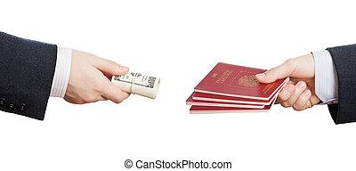 compra, falsificación, o, falsificado, pasaporte,...