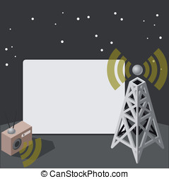 movie screen with antenna - Detailed animation of a movie...