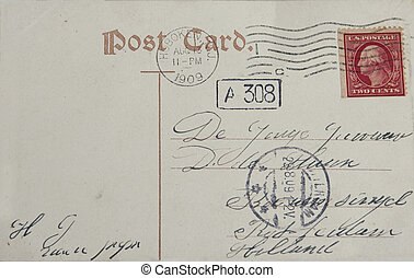 Vintage postcard with red two cent stamp and postmarked...