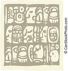 Mayan Glyphs Woodblock - Woodblock style Mayan language in...