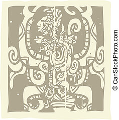 Mayan Woodblock Vision Serpent