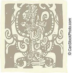 Mayan Woodblock Vision Serpent - Woodblock style Mayan image...