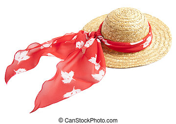 Straw Hat - Straw hat with red shawl isolated over white