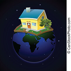 Planet with house and garden at night. Vector
