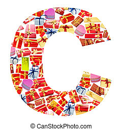 C Letter - Alphabet made of giftboxes