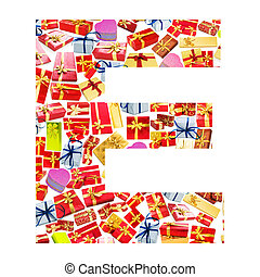 E Letter - Alphabet made of giftboxes