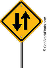 Two way traffic sign, vector illustration
