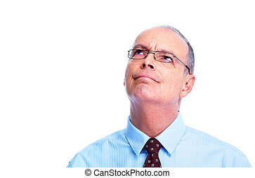 Skeptical businessman Isolated on white background