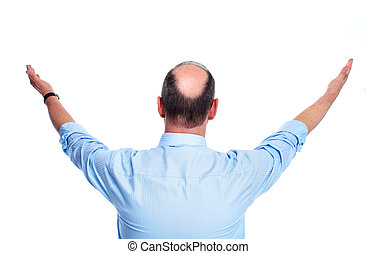 Hair loss Bald man Isolated on white background