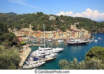 Aerial view on Portofino. Liguria, Italy. - Aerial view on...