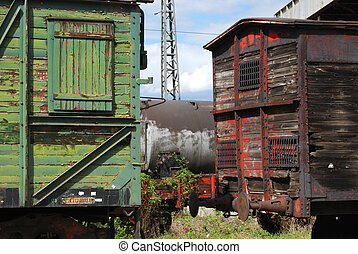 Old wooden railway wagons - Old vintage wooden railway...
