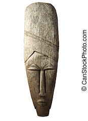 Wooden african mask - Wooden angolese mask isolated on a...