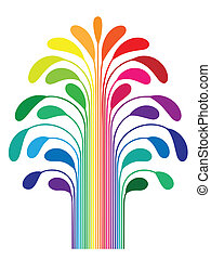 abstract simple stylized tree rainbow color