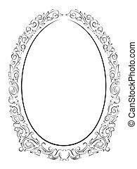 calligraphy penmanship oval baroque frame black isolated,...