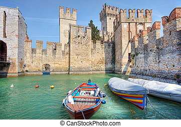 Ancient castle Sirmione, Italy - Medieval castle on Lake...