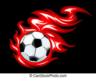 Football ball in fire flames - Football and soccer ball in...
