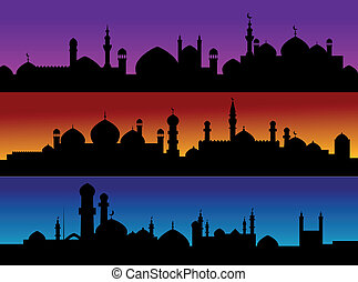 Mosque cityscapes on evening sky for design