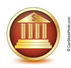 Circle button with symbol of the bank inside. Vector...