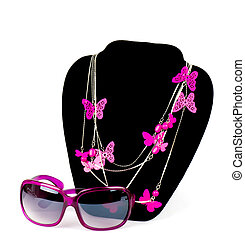Fashionable bijouterie and glasses on white background