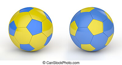 Soccer Ball/Football Ukraine - pair of shiny football /...