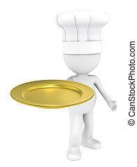 Five Star. - 3D little human character the Chef with an...
