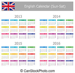 2013-2016 Type-1 English Calendar Sun-Sat on white...