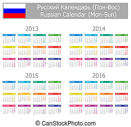 2013-2016 Type-1 Russian Calendar Mon-Sun on white...