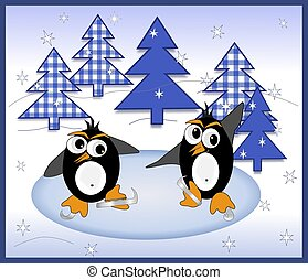 Ice Skating Penguins - Illustration of two penguins ice...