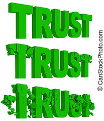 Cracking and crumbling of the word Trust - Rendered...