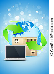 Laptop with Earth Globe and Cardboard Box
