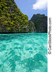 Cliff and the sea - Cliff and the clear sea Phi Phi Leh...